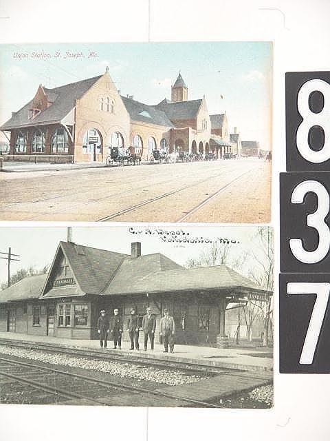 837: LOT OF 17 POST CARDS MISSOURI DEPOTS AND TRAINS
