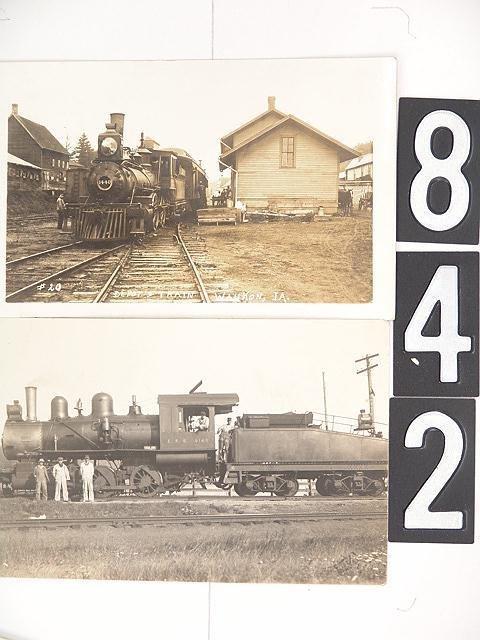 842: SIX RAILROAD REAL PHOTO POST CARDS INCL IA & NE