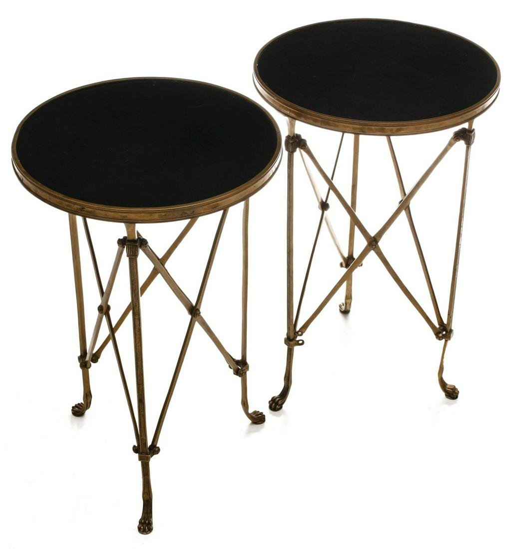 A PAIR 20TH CENT BRASS AND POLISHED GRANITE GUERIDONS