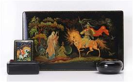 THREE VINTAGE RUSSIAN LACQUER BOXES