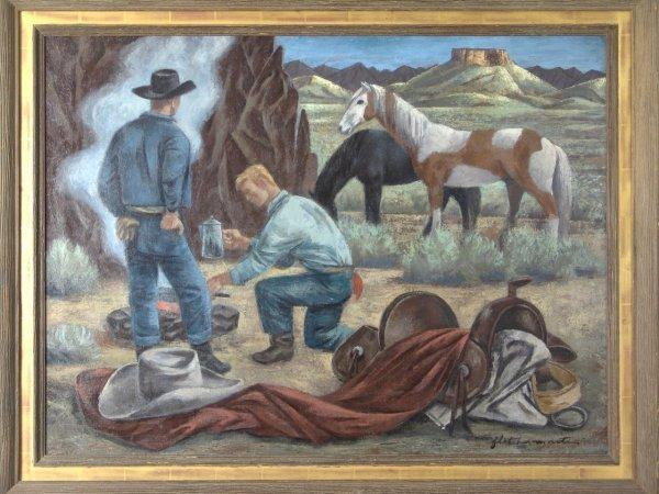 1: FINE OIL ON CANVAS BY FLETCHER MARTIN (1904-1979)