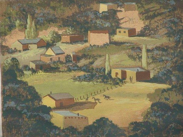 2: LOUIE EWING (1908-1983) SANTA FE VIEW SERIGRAPH