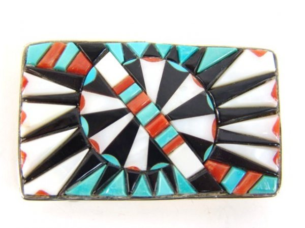 9: BEAUTIFUL INLAID ZUNI BUCKLE SIGNED JEANETTE DEWESEE