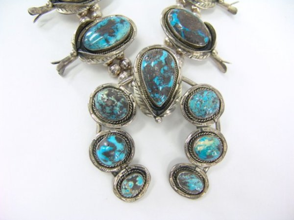 14: LARGE HEAVY SILVER TURQUOISE SQUASH BLOSSOM NECKLAC