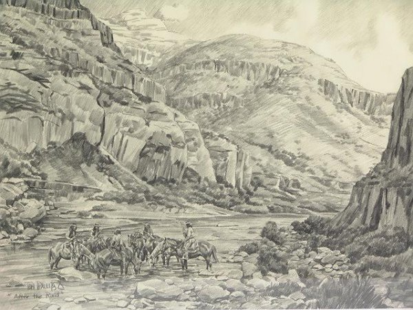 """15: TOM PHILLIPS DRAWING, AMERICAN INDIANS """"AFTER THE R"""
