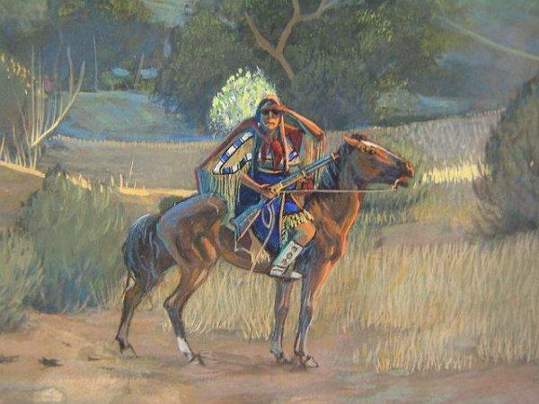 16: MERLIN LITTLE THUNDER AMERICAN INDIAN OIL ON BOARD