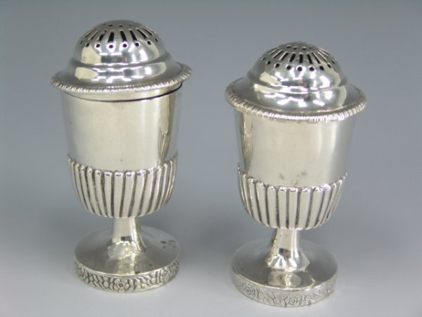 316: PAIR GEORGIAN SCOTTISH PROVINCIAL SILVER SHAKERS