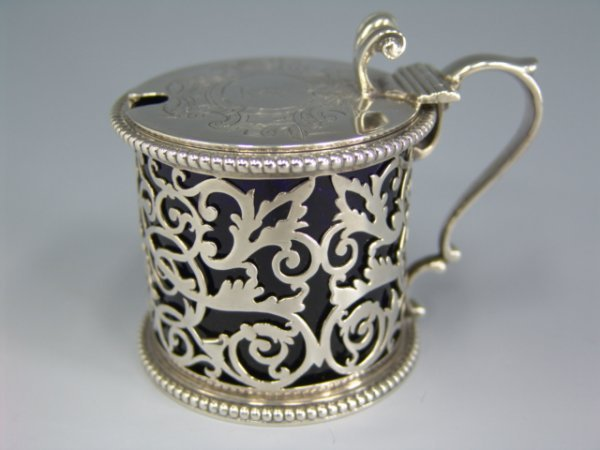 318: 1858 LONDON STERLING SILVER MUSTARD POT
