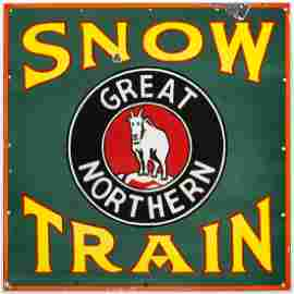 A RARE GREAT NORTHERN SNOW TRAIN PORCELAIN ENAMEL SIGN