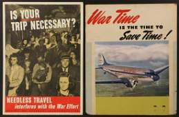 UNITED AIRLINES WWII EFFORT TRAVEL CONSERVATION POSTER