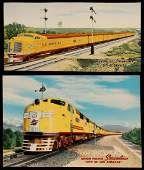 A PAIR OF UNION PACIFIC STREAMLINER ADVERTISING PRINTS