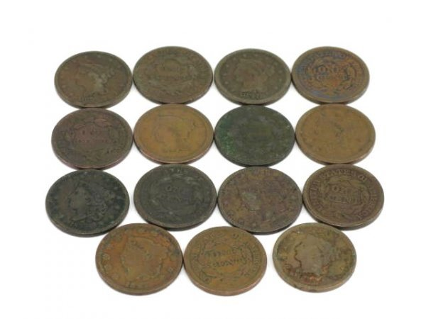 1006: LOT OF FIFTEEN LARGE CENTS