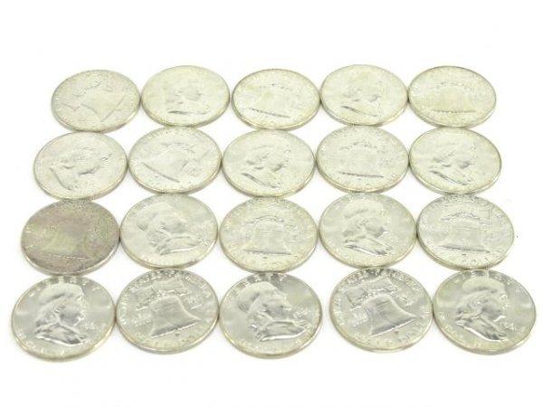 1010: 10$ ROLL UNC 1961 FRANKLIN HALF DOLLARS