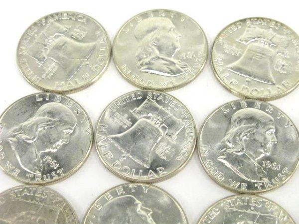 1010: 10$ ROLL UNC 1961 FRANKLIN HALF DOLLARS - 2