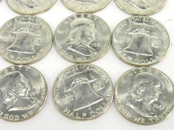 1010: 10$ ROLL UNC 1961 FRANKLIN HALF DOLLARS - 3