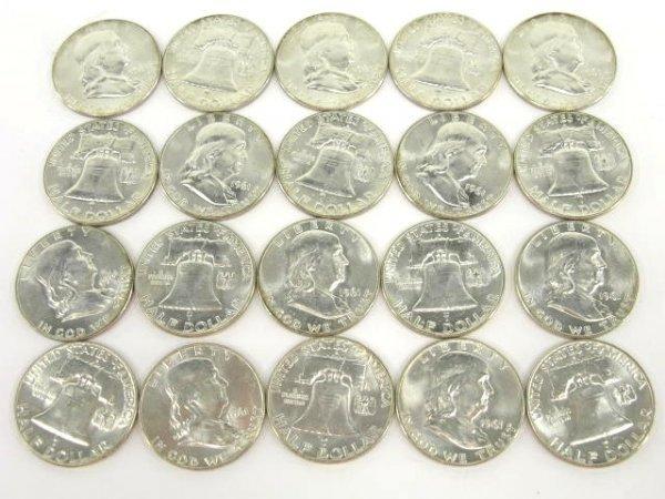 1011: 10$ ROLL UNC 1961 FRANKLIN HALF DOLLARS
