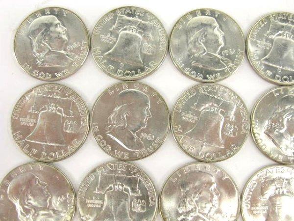 1011: 10$ ROLL UNC 1961 FRANKLIN HALF DOLLARS - 3