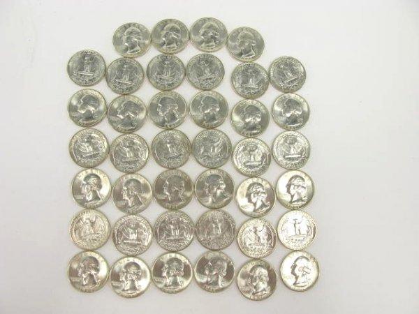1012: 10$ ROLL UNC 1961 WASHINGTON QUARTERS