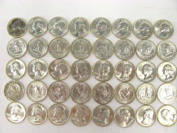 1013: 10$ ROLL UNC 1961 WASHINGTON QUARTERS