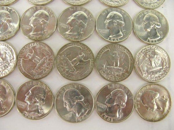 1013: 10$ ROLL UNC 1961 WASHINGTON QUARTERS - 4
