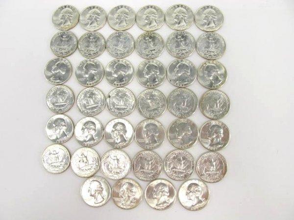 1014: 10$ ROLL UNC 1961 WASHINGTON QUARTERS