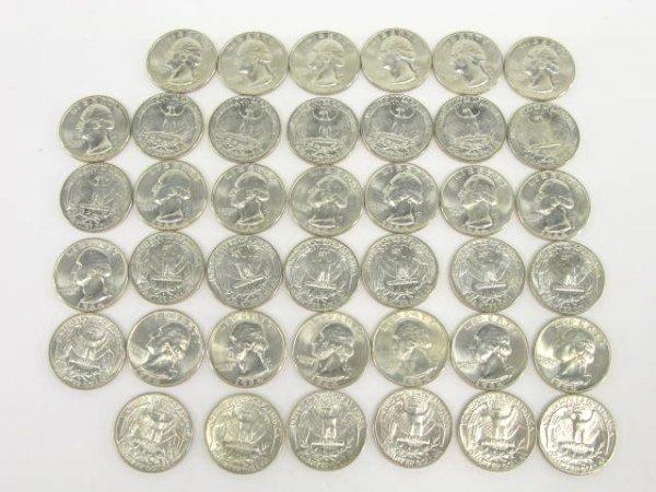 1015: 10$ ROLL UNC 1964 WASHINGTON QUARTERS