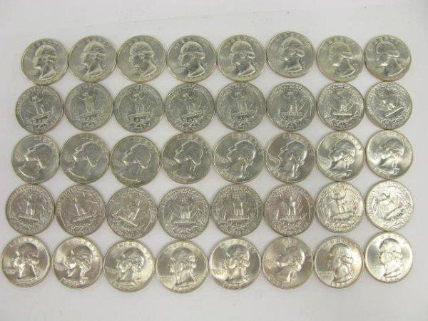 1016: 10$ ROLL UNC 1964 WASHINGTON QUARTERS