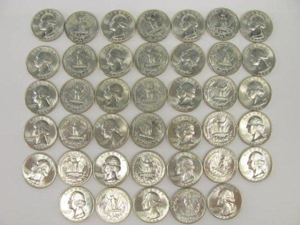 1017: 10$ ROLL UNC 1964 WASHINGTON QUARTERS
