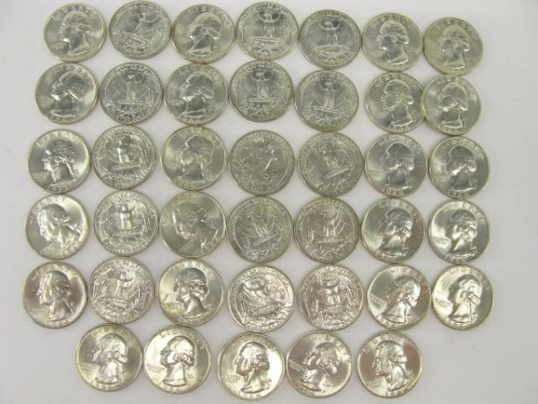 1018: 10$ ROLL UNC 1964 WASHINGTON QUARTERS