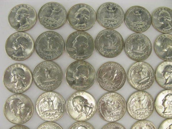1018: 10$ ROLL UNC 1964 WASHINGTON QUARTERS - 2