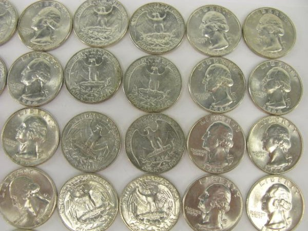 1018: 10$ ROLL UNC 1964 WASHINGTON QUARTERS - 3