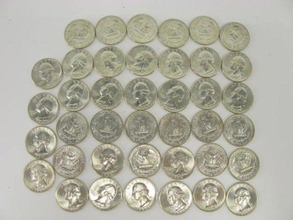1019: 10$ ROLL UNC 1964 WASHINGTON QUARTERS