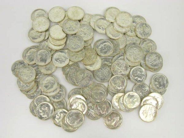1020: TWO UNC $5 ROLLS 1964 ROOSEVELT DIMES