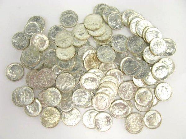 1021: TWO UNC $5 ROLLS 1964 ROOSEVELT DIMES