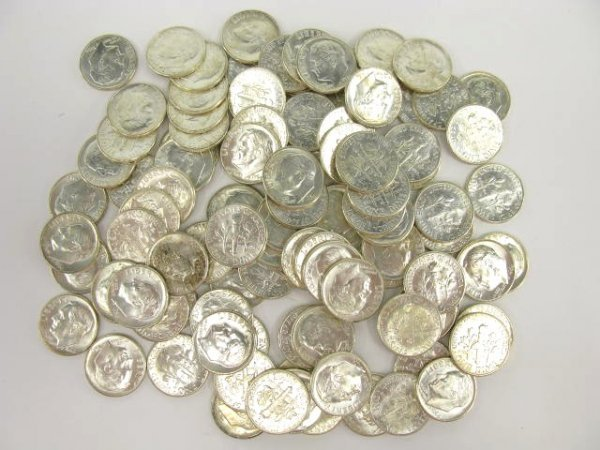 1022: TWO UNC $5 ROLLS 1964 ROOSEVELT DIMES