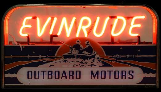 AN EVINRUDE OUTBOARD MOTORS NEON DEALER'S SIGN C. 1950