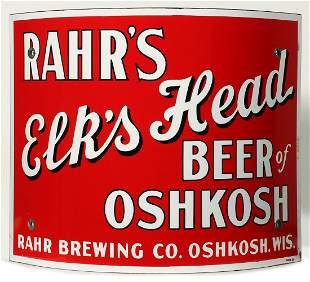 A PORCELAIN CORNER SIGN FOR RAHR'S ELK'S HEAD BEER