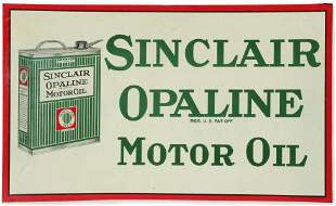 A LITHOGRAPHED TIN SIGN FOR OPALINE MOTOR OIL WITH CAN