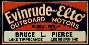 A NICE 1930s EVINRUDE AND ELTO MOTORS ADVERTISING SIGN