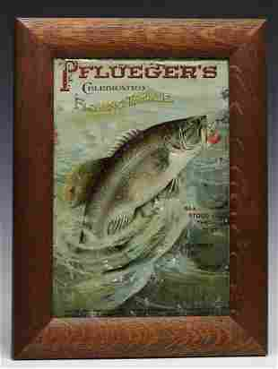 A PFLUEGER'S FISHING TACKLE TIN LITHO ADVERTISING SIGN