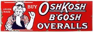 RED WHITE BLUE PORCELAIN ENAMEL OSHKOSH OVERALLS SIGN