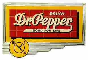 A GOOD DR PEPPER ADVERTISING FLANGE SIGN