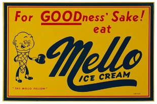 A NICE, BRIGHT MELLO ICE CREAM FLANGE SIGN DATED 1957