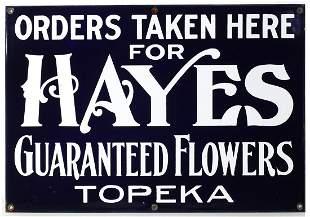 HAYES GUARANTEED FLOWERS TOPEKA | PORCELAIN ENAMEL SIGN