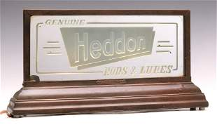 GENUINE HEDDON RODS AND LURES LIGHTED ADVERTISING SIGN