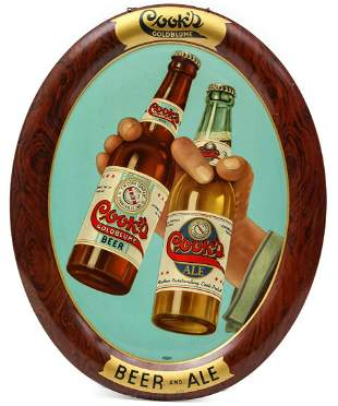 A NICE, BRIGHT COOK'S GOLDBLUME BEER AND ALE TIN SIGN