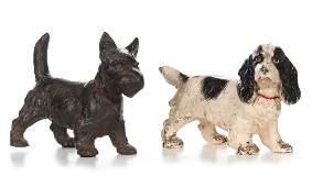 HUBLEY SCOTTIE AND SPANIEL CAST IRON DOG DOORSTOPS