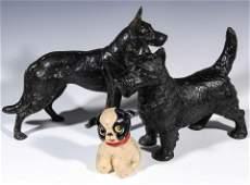 THREE GOOD HUBLEY CAST IRON DOG FIGURAL DOORSTOPS