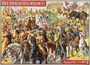 A LINEN BACKED 101 RANCH REAL WILD WEST STONE LITHO