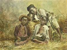 150A: CIRCA 1900 SIGNED WATERCOLOR OF BLACK YOUTHS